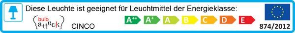 Leuchte Bulb Attack Cinco Energielabel: A++ bis E