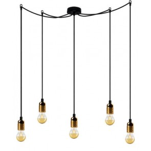Bulb Attack Uno S1 pendant lamp with black lamp holder, black textile cable and black ceiling rose