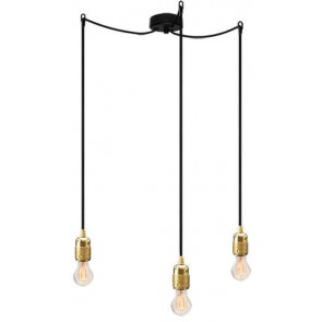 Bulb Attack Uno S3 pendant lamp with black lamp holder, black textile cable and black ceiling rose