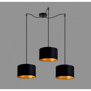 Cascade Pendant Light Bulb Attack TRES 3 with black and gold textile lamp shade, black cable and decorative ceiling canopy