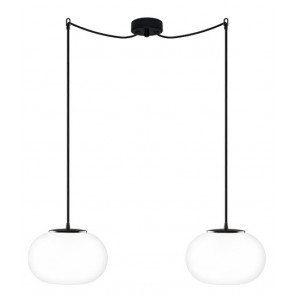 Sotto Luce DOSEI Elementary 2/S pendant light fitting opal/black