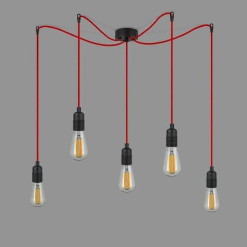 Designer Hängelampe Bulb Attack UNO S5 mit Fassung schwarz und Textilkabel rot