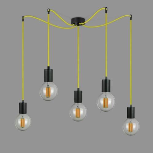 Hängeleuchte Bulb Attack Cero S5 mit Fassung E27 schwarz und dekorativem Textilkabel gelb