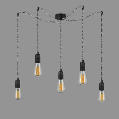 Funktional Pendellampe Bulb Attack Uno S5 Fassung E27 schwarz und Kabel schwarz-weiß