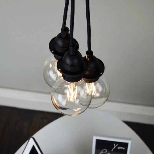 Rustikale-Pendelleuchte Bulb Attack Uno Plus S3 schwarz