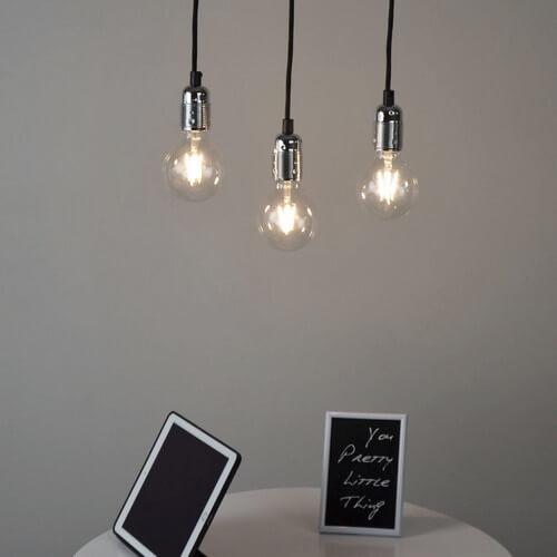 Loft-Hängeleuchte Bulb Attack Uno Basic 3 silber-nickel glänzend