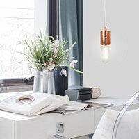 Designer Hängelampe Bulb Attack Cero mit Fassung E27 Blattkupfer im Wohnzimmer