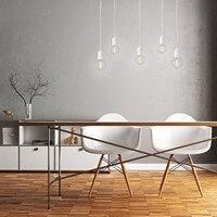 Moderne Hängelampe Pendellampe Bulb Attack Cero S5 mit Fassung E27, dekorativem Textilkabel und Deckendose weiß
