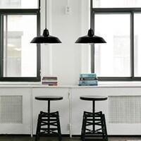 Funktional Pendellampe Bulb Attack Cinco mit Metall-Lampenschirm, dekorativem Textilkabel und Deckenbaldachin schwarz