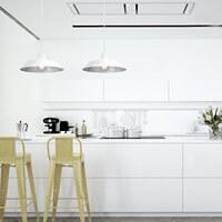 Günstige Hängeleuchte Bulb Attack Cinco S2 mit Metall-Lampenschirm weiß/Blattsilber, dekorativem Textilkabel und Deckenrosette