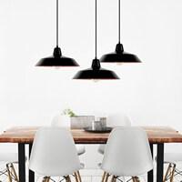 Moderne Hängelampe Bulb Attack Cinco 3 mit Metall-Lampenschirm, dekorativem Textilkabel und Deckendose