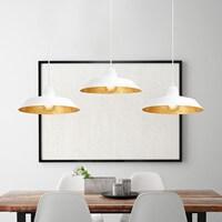 Exklusive Designer Pendelleuchte Bulb Attack Cinco mit Metall-Lampenschirm weiß/Blattgold