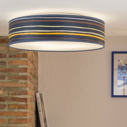 Holz-Deckenleuchte Bulb Attack Ocho blau gestreift