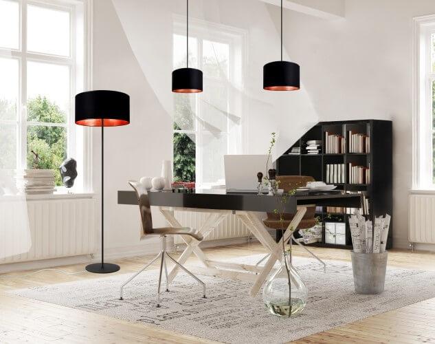 Moderne Kaskaden-Pendelleuchte Bulb Attack Tres schwarz und Blattkupfer