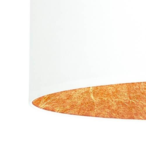 Textil Lampenschirm weiß und Blattkupfer