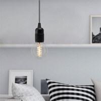 Minimalistische Hängeleuchte Bulb Attack Uno S1 mit Fassung E27, dekorativem Textilkabel und Deckenbaldachin schwarz