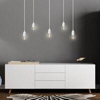 Moderne Pendellampe Bulb Attack Uno S5 mit Fassung E27, dekorativem Textilkabel und Deckendose weiß