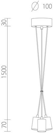 Dimensions of Bulb Attack Cero S3 Group pendant lamp