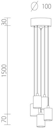 Dimensions of Bulb Attack Cero S5 Group pendant lamp