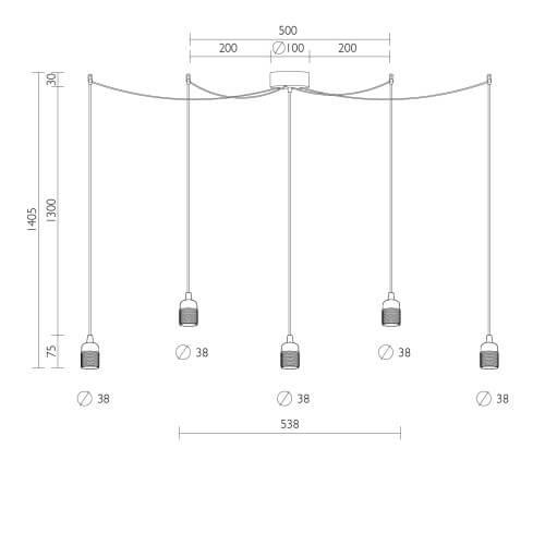 Dimensions of simple pendant lamp Bulb Attack Uno S5