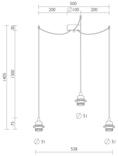 Dreifach-Pendelleuchte Bulb Attack Uno Plus 3 Abmessungen