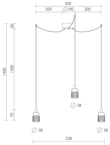 Dreifach-Hängeleuchte Bulb Attack Uno 3 Abmessungen
