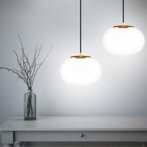 Pendelleuchte Sotto Luce Dosei 2/S mit opal/Blattkupfer Lampenschirm