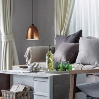 Moderne Pendellampe Sotto Luce Awa mit Glas-Lampenschirm Blattkupfer, dekorativem Textilkabel schwarz