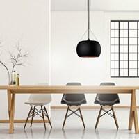 Günstige Pendelleuchte Sotto Luce Momo mit Glas-Lampenschirm, dekorativem Textilkabel und Deckenrosette.
