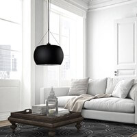Moderne Hängelampe Sotto Luce Momo mit Glas-Lampenschirm, dekorativem Textilkabel und Deckendose schwarz