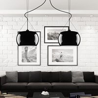 Funktional Pendellampe Sotto Luce Momo 2/S mit Glas-Lampenschirm, dekorativem Textilkabel und Deckenbaldachin schwarz