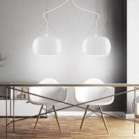 Exklusive Designer Pendelleuchte Sotto Luce Momo 2/S mit Glas-Lampenschirm opal
