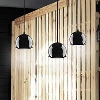 Günstige Hängeleuchte Sotto Luce Myoo 3/S mit Glas-Lampenschirm, dekorativem Textilkabel und Deckenrosette schwarz