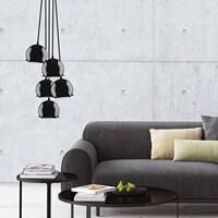 Exklusive Designer Pendelleuchte Sotto Luce Myoo mit Glas-Lampenschirm, dekorativem Stoffkabel und Deckenrosette schwarz