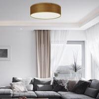 Schöne Deckenleuchte Sotto Luce Tsuri mit Naturholzfurnier-Lampenschirm im Wohnzimmer
