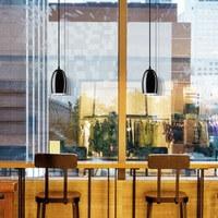 Moderne Hängeleuchte Sotto Luce Ume mit Glas-Lampenschirm schwarz/opal