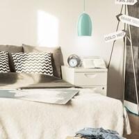 Exklusive Designer Pendellampe Sotto Luce Ume mit Glas-Lampenschirm blau
