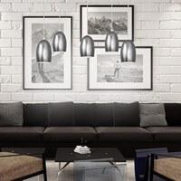 Exklusive Designer Pendelleuchte Sotto Luce Ume mit Glas-Lampenschirm silber, dekorativem Stoffkabel und Deckenrosette.