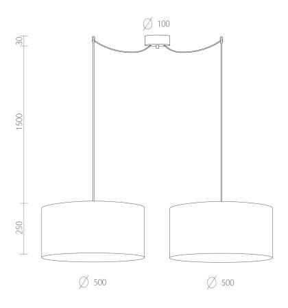 Dimensions of Bulb Attack Tres XL S2 pendant lamp