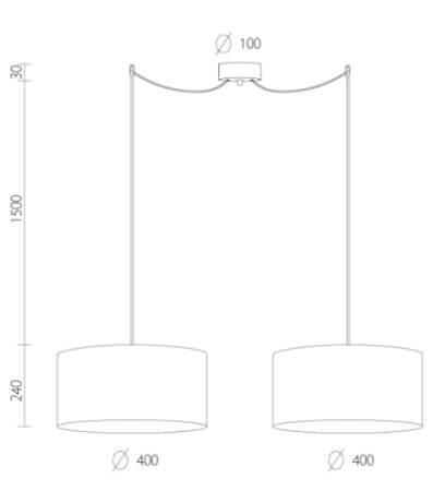 Dimensions of Bulb Attack Tres L S2 pendant lamp